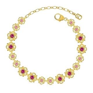 Lucia Costin Sterling Silver Fuchsia/ Light Pink Crystal Bracele