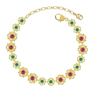 Lucia Costin Sterling Silver Fuchsia/ Turquoise Green Crystal Bracelet