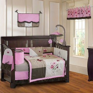 BabyFad Pink Blossom 10-piece Baby Girls Crib Bedding Set (Including Musical Mobile)