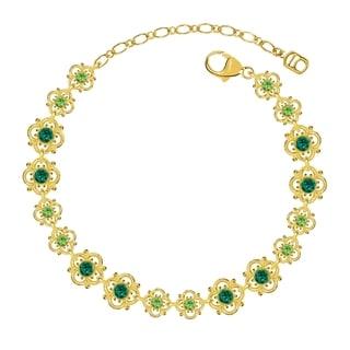 Lucia Costin Sterling Silver Dark Green/ Light Green Crystal Bracelet
