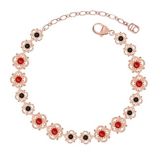 Lucia Costin Sterling Silver Red/ Black Crystal Bracelet with Dots