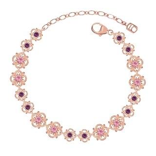 Lucia Costin Sterling Silver Violet/ Light Pink Crystal Bracelet
