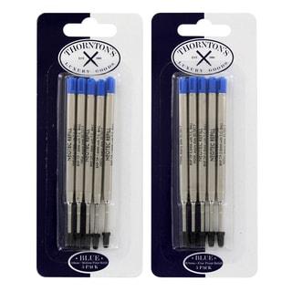 Thornton's Luxury Goods Parker Style Ballpoint Refills, 5 Fine, 5 Medium, Blue