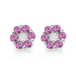 10k White Gold 2/5ct TDW White Diamond and Pink Sapphire Cluster Flower Stud Earrings (I-J, I2-I3)