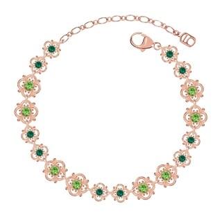 Lucia Costin Sterling Silver Light Green/ Dark Green Crystal Bracelet