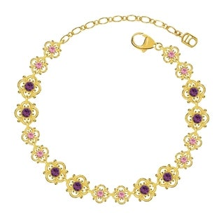 Lucia Costin Sterling Silver Light Pink/ Violet Crystal Bracelet with Flowers