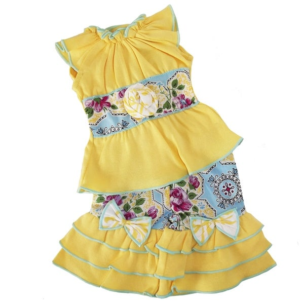 AnnLoren Yellow and Blue Floral Damask 18-inch Doll Clothing Set