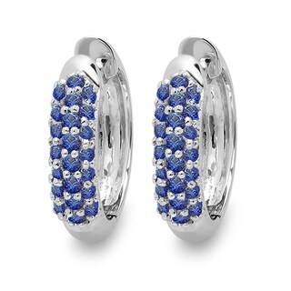 Elora 18k White Gold Round Blue Sapphire Pave Set Hoop Earrings