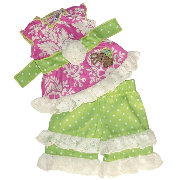 AnnLoren Easter Bunny Two Piece Damask and Lace 18-inch Doll Outfit