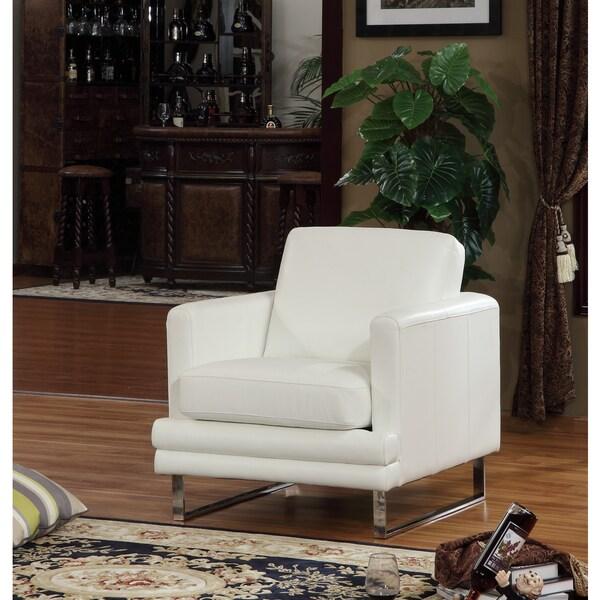 Lazzaro Leather Melbourne White Chair Free Shipping