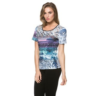 High Secret Women's Short Sleeve Embellished Blue Top