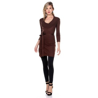 Stanzino Women's 3/4-Length Sleeve Tunic Sweater Dress