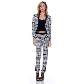 Stanzino Women's 2-Piece Printed Blazer Pantsuit