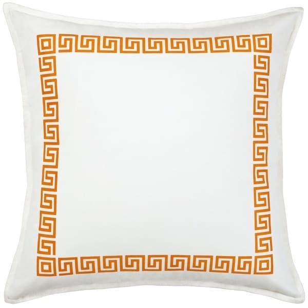 Greek Key Cotton Canvas 20-inch Pillow
