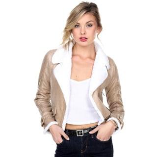 Stanzino Women's Vegan Shearling Moto Jacket