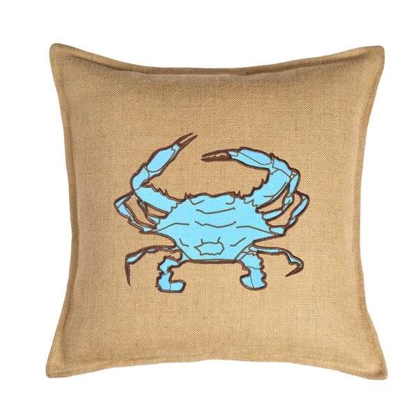 Light Blue Crab Applique Burlap 20-inch Pillow