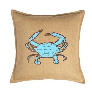 Light Blue Crab Applique Burlap 20-inch Pillow