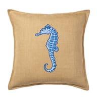 Blue Seahorse Applique Burlap 20-inch Pillow