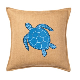 Blue Turtle Applique Burlap 20-inch Pillow