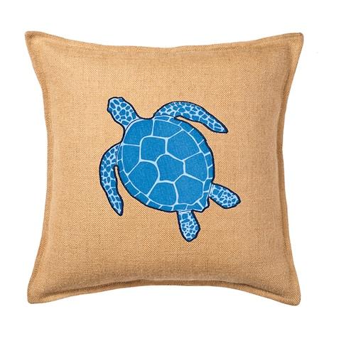 Blue Turtle Applique Burlap 20-inch Pillow