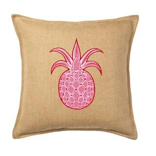 Pink Pineapple Applique Burlap 20-inch Pillow