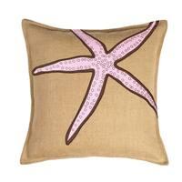Pink Star Applique Burlap 20-inch Pillow