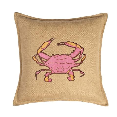 Pink Crab Applique Burlap 20-inch Pillow