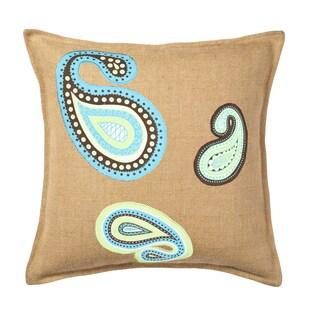 Paisley Burlap Applique 20-inch Pillow