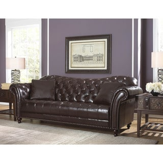 Lazzaro Leather Nicholas Cranberry Sofa with 2 Pillows