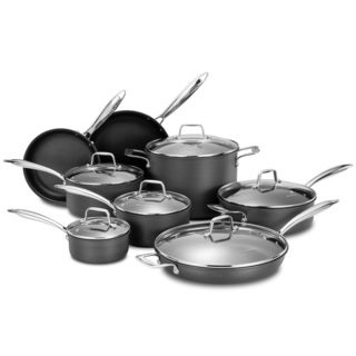 Momscook Grey Hard Anodized Aluminum Professional Nonstick 14-piece Cookware Set
