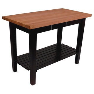 John Boos Cherry RN-C3624-D-S Butcher Block Table 36x24 with Drawer and Shelf & 13-piece Henckels Knife Set