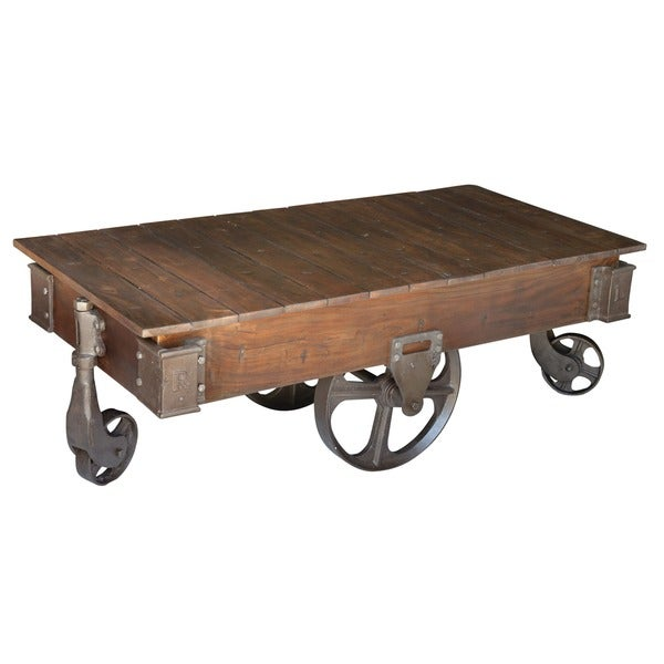 Fenman Wood And Cast Iron Coffee Table Free Shipping Today 11042355