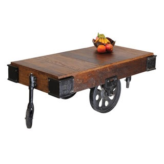 Handmade Timbergirl Reclaimed Wood Industrial Cart Wheels Coffee Table India Free Shipping