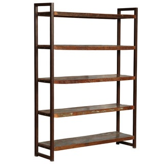 Hovito Reclaimed Wood and Cast Iron Large Rustic Shelf