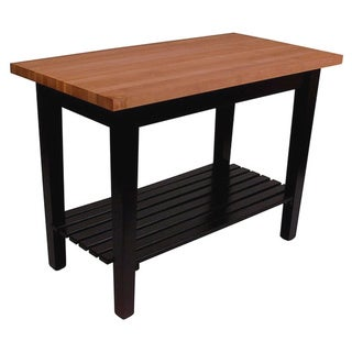 John Boos Cherry RN-C3624C-S 36 x 24 Butcher Block Table and Casters with Shelf and Bonus13-piece Henckels Knife Set