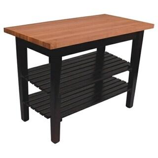 John Boos Cherry RN-C3624-D-2S Butcher Block Table 36x24 Two Shelves and Bonus 13-piece Henckels Knife Set
