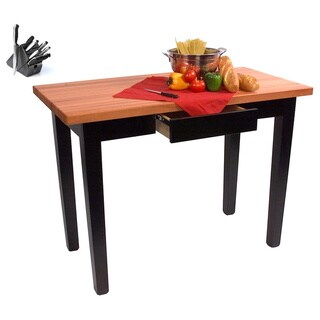 John Boos Cherry RN-C3624C-D Butcher Block Table with Casters and Drawer and Bonus 13-piece Henkels Knife Set