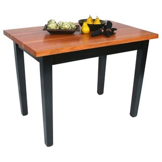 John Boos Cherry RN-C3624C 36x24 Butcher Block Table with Casters and Bonus 13-piece Henckels Knife Set