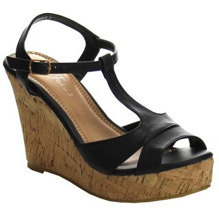 Beston EA53 Women's T-strap High Cork Wedge Platform Sandals