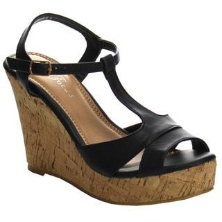 Beston EA53 Women's T-strap High Cork Wedge Platform Sandals