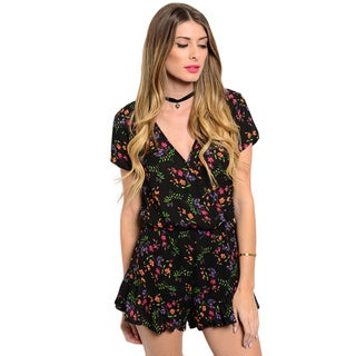 Shop the Trends Women's Short Sleeve Woven Floral Print V-Neck Romper