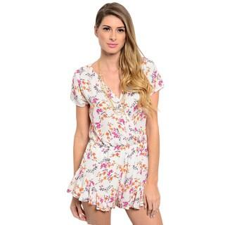 Shop the Trends Women's Short Sleeve Woven Floral Print V-Neck Romper