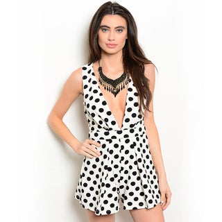 Shop the Trends Women's Sleeveless Allover Polka Dot Print Deep V-Neckline Romper
