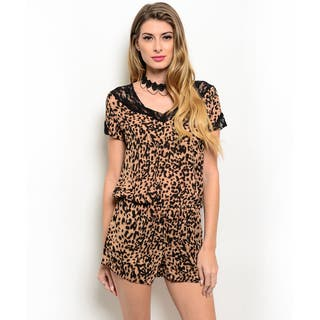 Shop the Trends Women's Short Sleeve Allover Leopard Print Lace Trim V-Neck Woven Romper|https://ak1.ostkcdn.com/images/products/11042394/P18055472.jpg?impolicy=medium