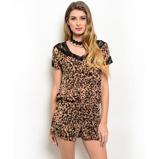Shop the Trends Women's Short Sleeve Allover Leopard Print Lace Trim V-Neck Woven Romper
