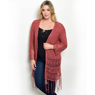 Shop the Trends Women's Plus Size Long Sleeve Knit Eyelet Cutout Open Cardigan