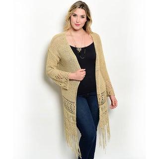 Shop the Trends Women's Plus Size Long Sleeve Knit Eyelet Cutout Open Cardigan