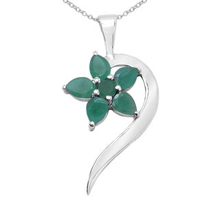 Link to Sterling Silver 1ct TGW Genuine Emerald Pendant Similar Items in Necklaces