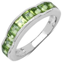 Sterling Silver 2ct TGW Genuine Peridot Ring