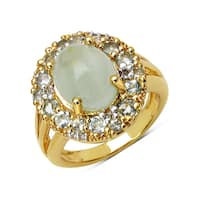 Olivia Leone 14K Yellow Gold Plated 6.66 Carat Genuine Aquamarine and White Topaz .925 Sterling Silver Ring - Blue